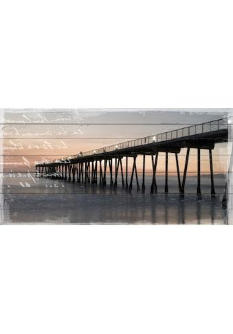 QUEENCE Holzbild »Steg im Sonnenuntergang«, 40x80 cm Echtholz kaufen