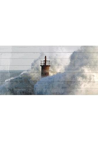 QUEENCE Holzbild »Wellenbrecher Leuchtturm«, 40x80 cm Echtholz kaufen