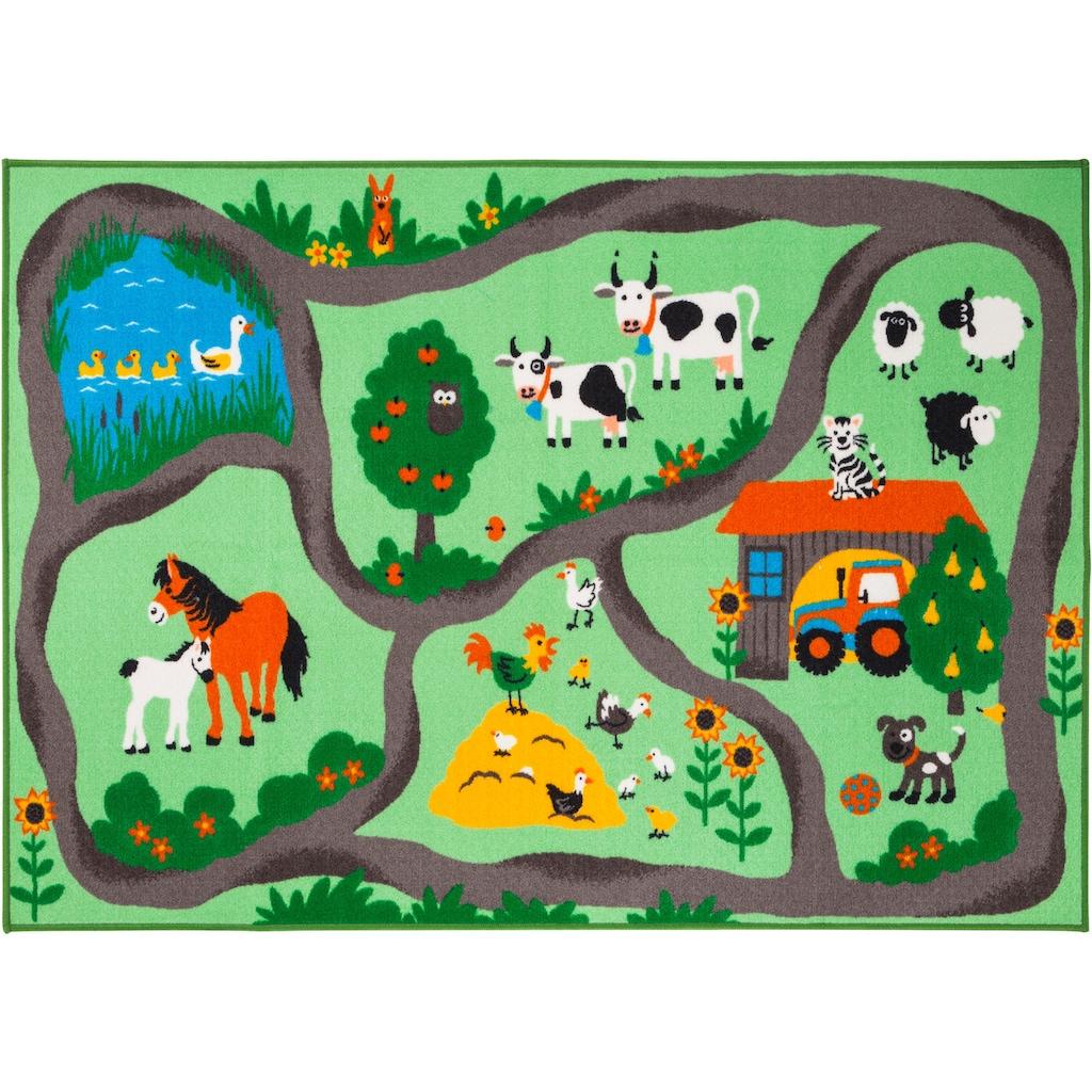 Andiamo Kinderteppich »Bauernhof«, rechteckig, 6 mm Höhe, Kurzflor, Strassen-Spielteppich